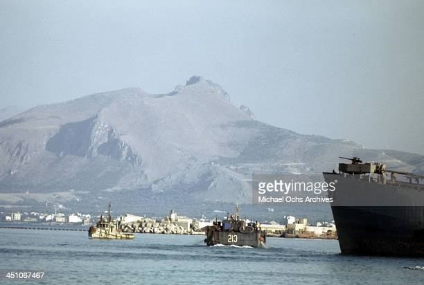 A view of Allied forces in boats after 5 day after winning the campaign to invade Sicily called Operation Husky during the World War II in Palermo...
