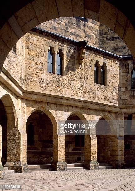 View of Alnwick Castle courtyard Northumberland England