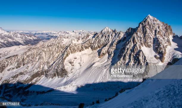 View of Alps range from the way up to Grands Montets in France