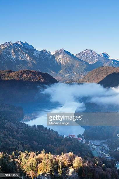 View of Alpsee Lake with Hohenschwangau Castle and Allgau Alps, Hohenschwangau, Fussen, Ostallgau, Allgau, Bavaria, Germany, Europe