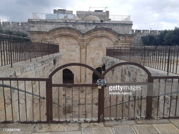 A view of AlRahma Gate of AlAqsa Mosque Compound after it was chained by Israeli police on February 18 2019