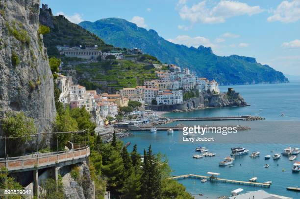 View of Amalfi, Italy by the mountain's side with the ocean