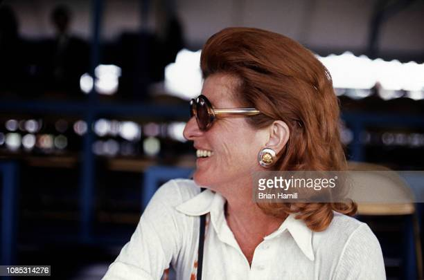 View of America socialite and philanthropist Patricia Kennedy Lawford as she attends the first Robert F Kennedy ProCelebrity Tennis Tournament at...