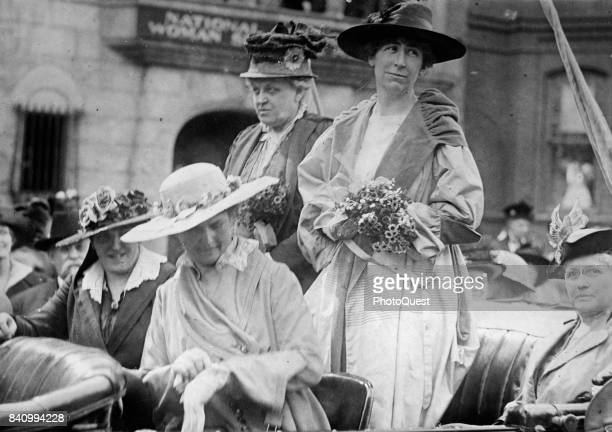 View of American activist and a leader of the Women's Sufferage movement Carrie Chapman Catt and American politician US Representative Jeannette...