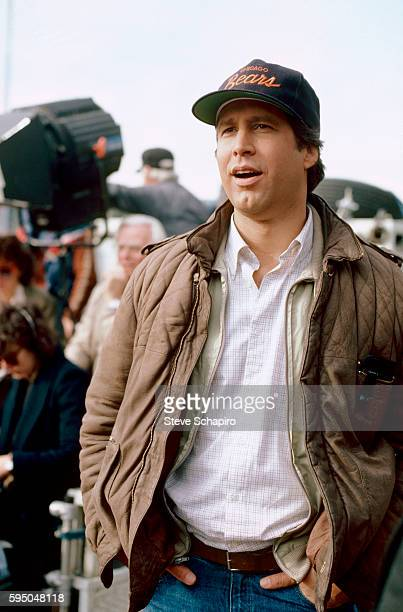 View of American actor and comedian Chevy Chase on the set of the film 'National Lampoon's European Vacation' 1985