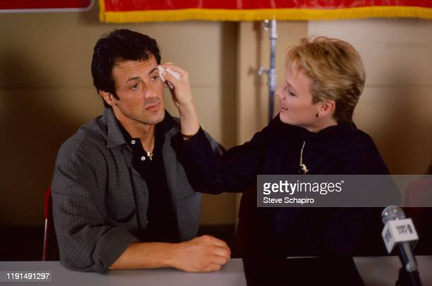 View of American actor and director Sylvester Stallone and Danish actress Brigitte Nielsen during the filming of 'Rocky IV' , Los Angeles,...