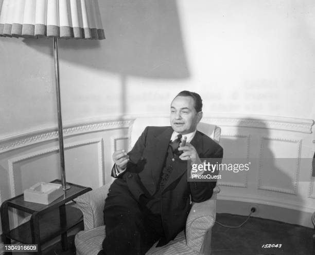 View of American actor Edward G Robinson during an interview, London, England, November 6, 1942. Robinson was in England on behalf of the US Office...