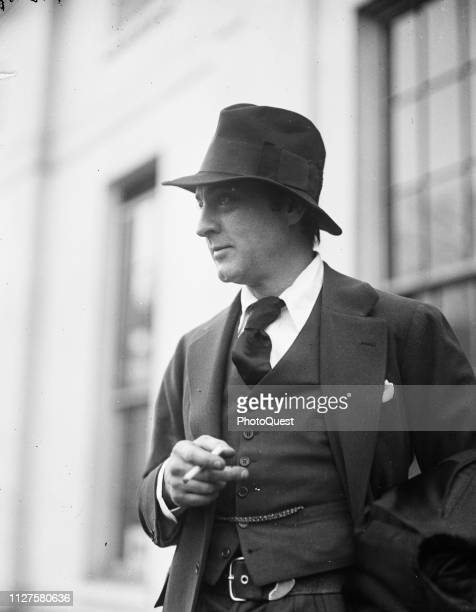 View of American actor John Barrymore as he smokes a cigarette during a visit to the White House Washington DC January 9 1924