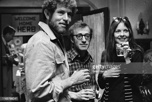 View of American actors Tony Roberts Woody Allen and Diane Keaton on the set of the film 'Annie Hall' New York New York 1977