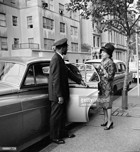 View of American actress Gloria Swanson as she shops New York New York 1960