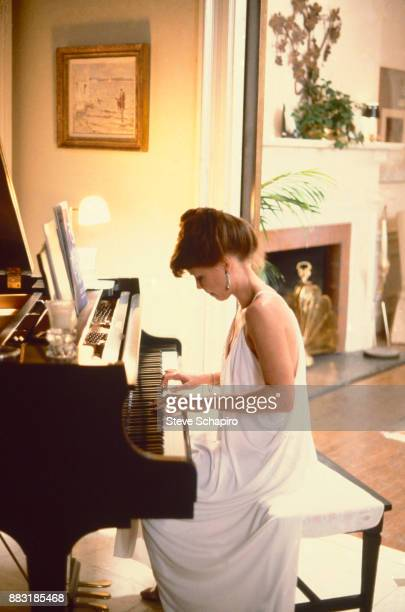 View of American actress Sally Field as she plays the piano Los Angeles California 1970s