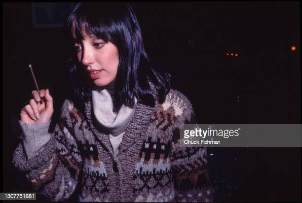 View of American actress Shelley Duvall, a cigarette in her hand, at Elaine's Restaurant, New York, New York, November 1977. She was there for a...
