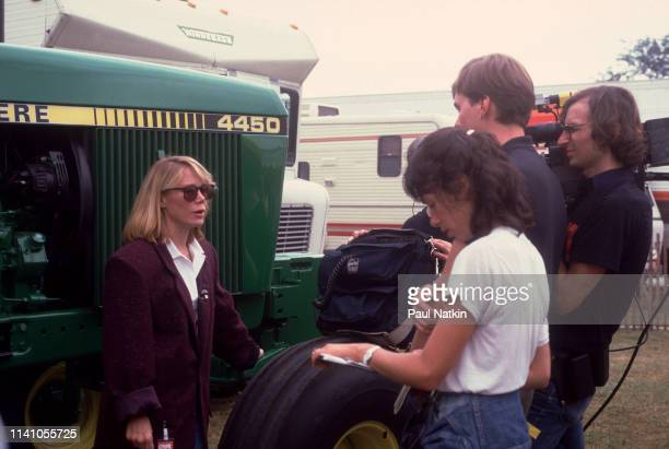 View of American actress Sissy Spacek as she is filmed speaking backstage during the inaugural Farm Aid benefit concert at Veteran's Stadium...