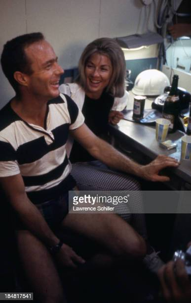 View of American aquanaut Scott Carpenter and his wife Rene as they share a laugh together after his mission aboard Sealab II off the coast of La...