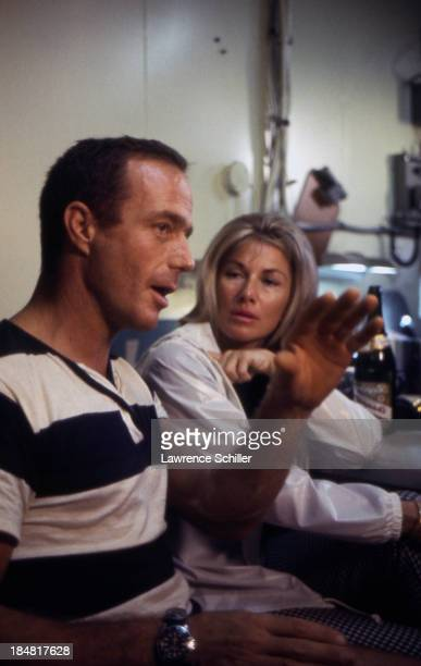 View of American aquanaut Scott Carpenter and his wife Rene as they talk together after his mission aboard Sealab II off the coast of La Jolla...