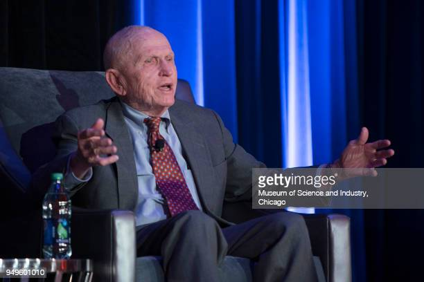 View of American astronaut Frank Borman of NASA's Apollo 8 mission during a panel interview held at the Museum of Science and Industry Chicago...