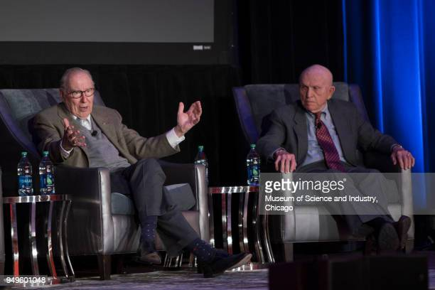 View of American astronauts James Lovell and Frank Borman both of whom were part of NASA's Apollo 8 mission during a panel interview held at the...