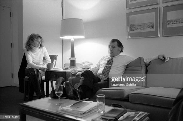 View of American attorney F Lee Bailey and his wife Lynda Hart relax in their room at the Stanford Court hotel San Francisco California 1976 At the...