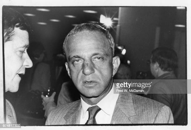 View of American attorney Roy Cohn as he attends a Friar's Club Roast New York New York July 21 1977 The man at left is unidentified