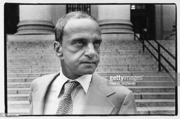 View of American attorney Roy Cohn as he stands near the steps of the New York County Courthouse New York New York July 21 1977