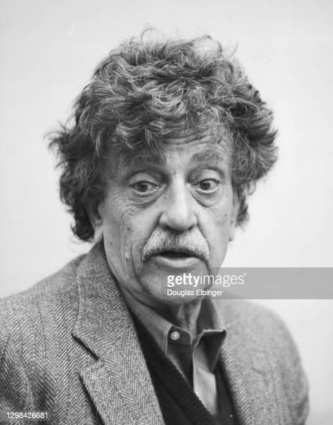 View of American author Kurt Vonnegut Jr outside the Michigan State University Student Union, East Lansing, Michigan, April 9, 1992.