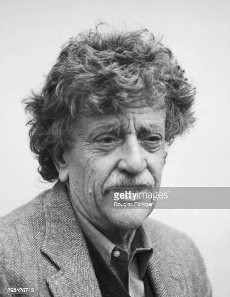 View of American author Kurt Vonnegut Jr outside the Michigan State University Student Union, East Lansing, Michigan, April 9, 1992.