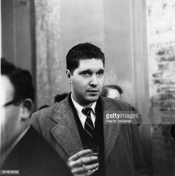 View of American author Marvin Cohen a glass in his hand at the Living Theatre New York New York November 13 1959