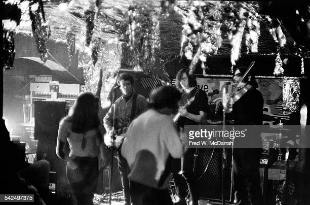 View of American band the Velvet Underground as they perform at Steve Paul's nightclub the Scene New York New York January 7 1967 Pictured are...