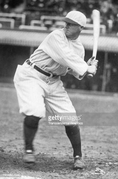 View of American baseball player Benny Kauff of the New York Giants as he swings a bat during batting practice New York New York mid 1920s