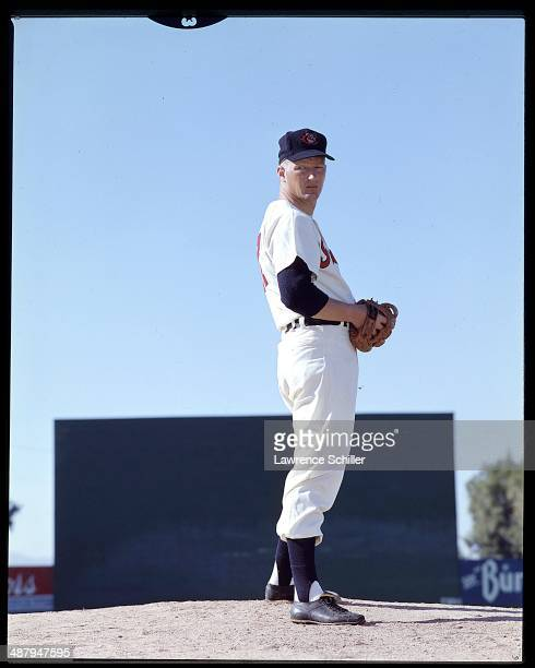 View of American baseball player Herb Score pitcher for the Cleveland Indians as he stands on the mound 1958