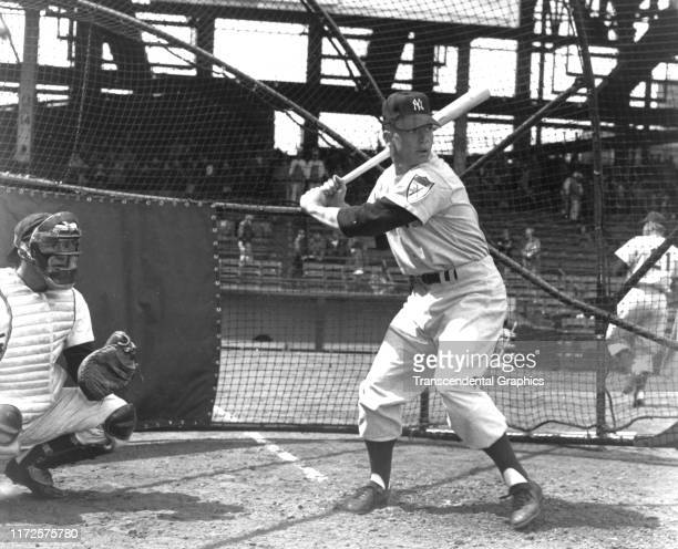 View of American baseball player Mickey Mantle of the New York Yankees at bat during spring training Florida March 1951