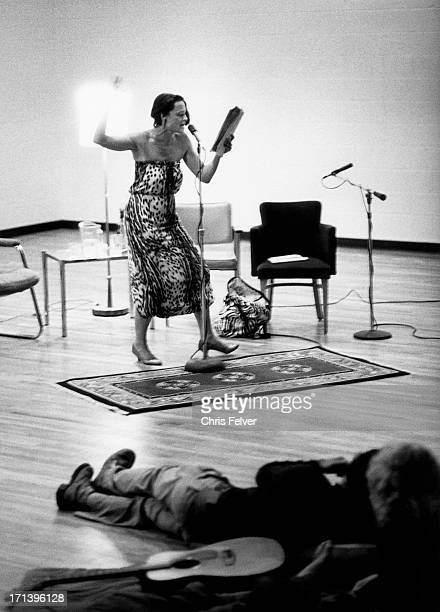 View of American Beat poet Anne Waldman reads one of her pieces Boulder Colorado 1981