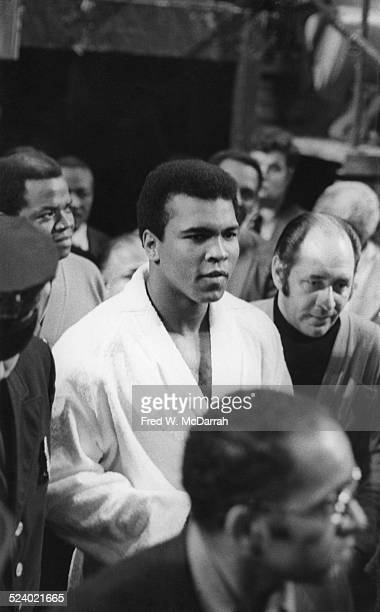 View of American boxer Muhammad Ali as he arrives for his bout with Joe Frazier New York New York March 8 1971