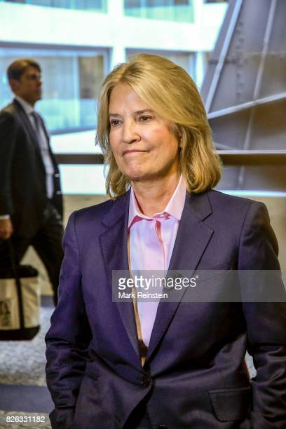 View of American broadcast journalist Greta Van Susteren as she reports outside room 216 of the Hart Senate Office Building Washington DC June 13...