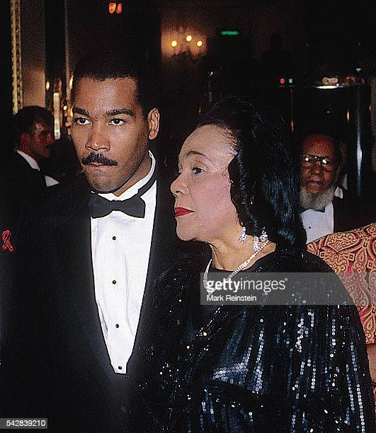 View of American Civil Rights activist Coretta Scott King and her son Dexter Scott King as they attend an unspecified event Washington DC 1994