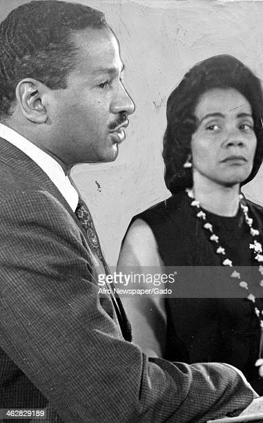View of American Civil Rights activist Coretta Scott King at an unspecified event with her son Dexter Scott King 1980s