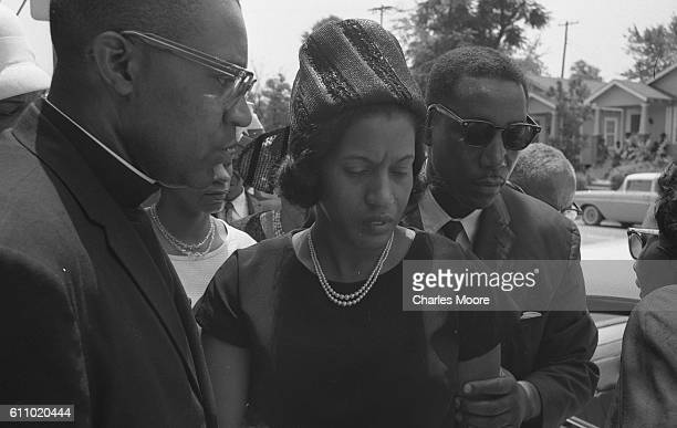 View of American Civil Rights activist Myrlie Evers as she arrives for the funeral of her husband Medgar Evers Jackson Mississippi June 15 1963...