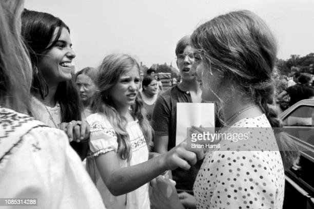 View of American cousins Maria Shriver Kerry Kennedy and Caroline Kennedy as they attend the first Robert F Kennedy ProCelebrity Tennis Tournament at...