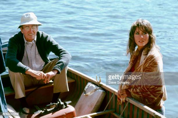 View of American father and daughter actors Henry Fonda and Jane Fonda in a scene from the film 'On Golden Pond' New Hampshire 1981