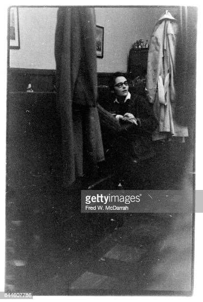 View of American feminist activist and artist Kate Millett as she sits in a booth at the Cedar Tavern New York New York April 16 1960