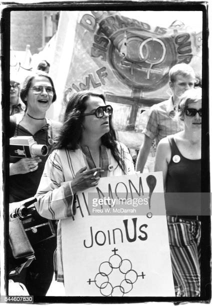 View of American feminist activist author and artist Kate Millett as she attends an equal rights demonstration New York New York June 27 1971 She...