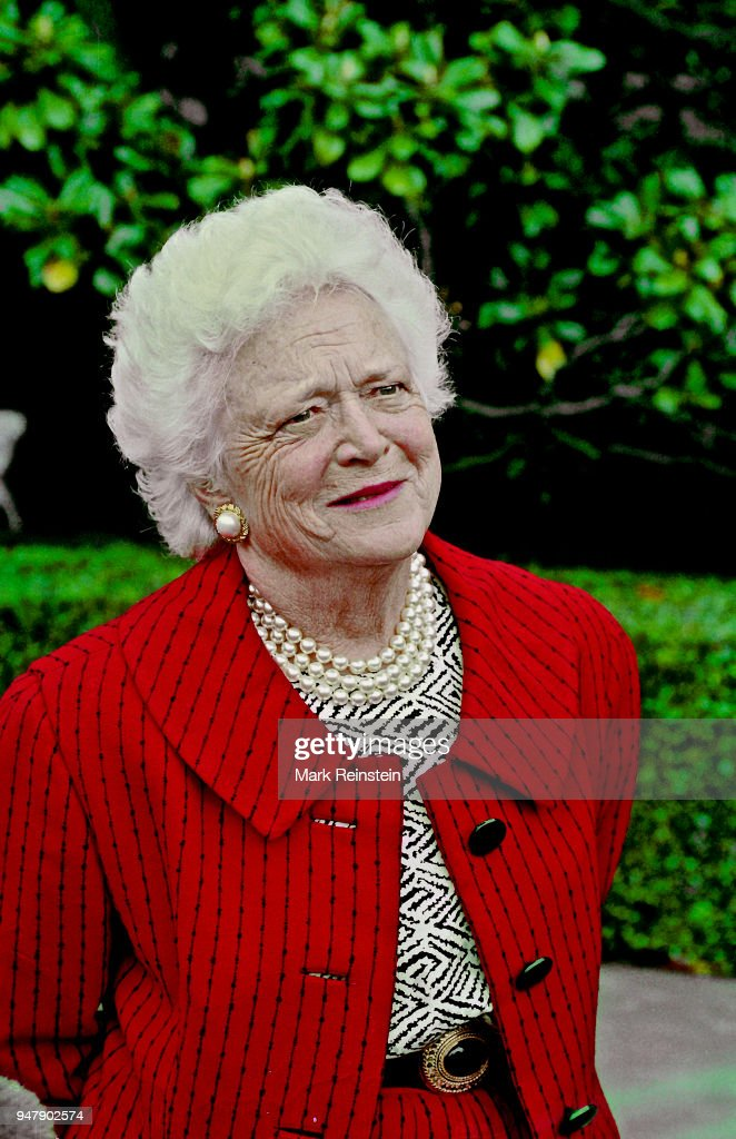 View of American First Lady Barbara Bush as she speaks with reporters, Washington DC, May 10, 1992. She had been attending a Sunday morning church service.