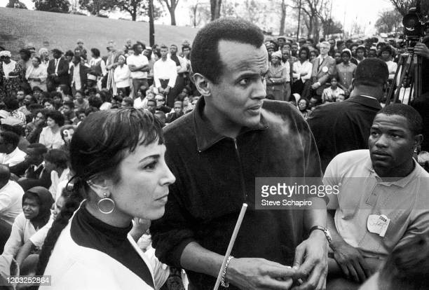 View of American former dancer Julie Robinson and her husband singer actor and activist Harry Belafonte during the third Selma to Montgomery march...
