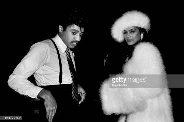View of American Funk and Pop musicians Morris Day of the Time and Vanity at the UIC Pavilion Chicago Illinois April 11 1983