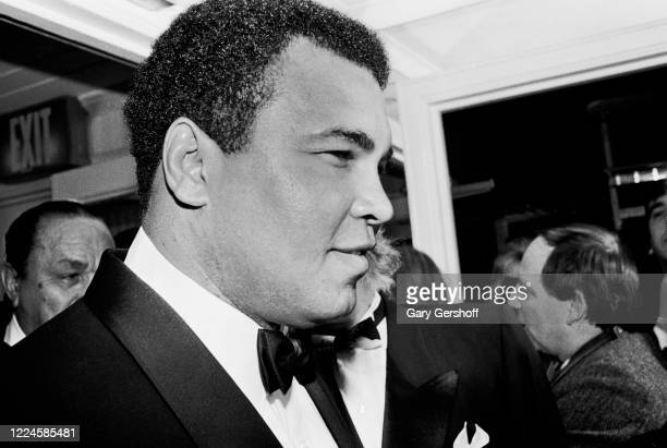 View of American Heavy Weight boxer and activist Muhammed Ali during the Third Annual Rock and Roll Hall of Fame Awards ceremony at the Waldorf...