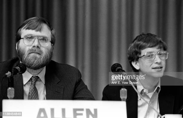 View of American home computer pioneers, Asymetrix Corporation founder Paul Allen and Microsoft Corporation co-founder Bill Gates during a panel...