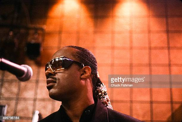 View of American Jazz and Pop musician Stevie Wonder on the set of the television soap opera 'All My Children' during a rehearsal New York New York...