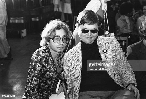 View of American journalists and gay rights activists Arthur Bell and Doug Ireland as they attend a rally at City Hall in support of the Gay Rights...