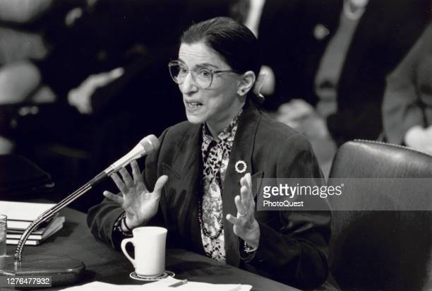 View of American jurist Ruth Bader Ginsburg during her testimony before the US Senate Judiciary Committee during a confirmation hearing over her...