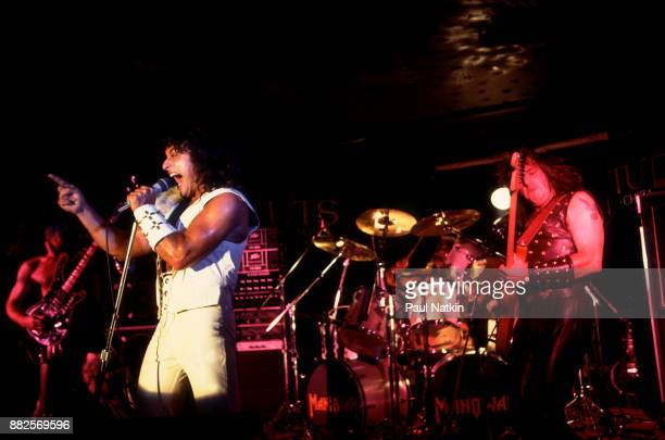 View of American metal band Manowar performing at Tuts in Chicago Illinois July 21 1982